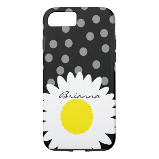 Personalized White Daisy and Polka Dotted Dots iPhone 7 Case