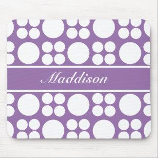 Personalized White Dot Pattern on Ce Soir Purple Mousepad