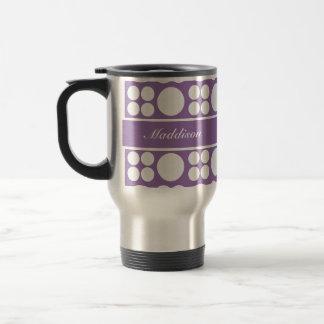 Personalized White Dot Pattern on Ce Soir Purple 15 Oz Stainless Steel Travel Mug