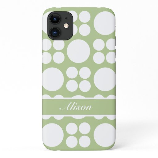 Personalized White Dots on Sprout Green iPhone 11 Case