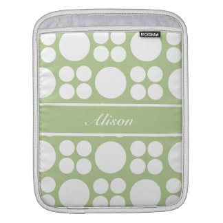 Personalized White Dots on Sprout Green iPad Sleeve