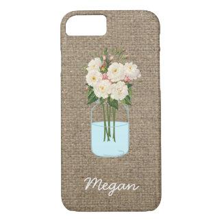 Personalized White Flower Mason Jar on Burlap iPhone 7 Case