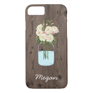 Personalized White Flower Mason Jar on Wood iPhone 7 Case