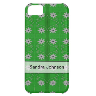 Personalized white flowers on green pattern case for iPhone 5C
