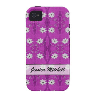 Personalized white flowers on purple pattern vibe iPhone 4 cases