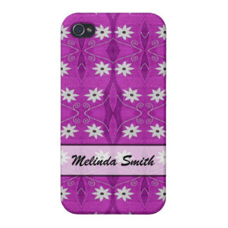 Personalized white flowers on purple pattern cases for iPhone 4