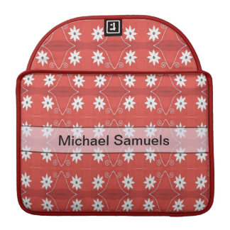 Personalized white flowers on red pattern sleeve for MacBooks