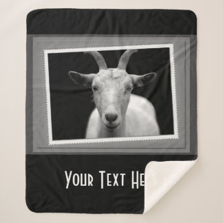 Personalized White Goat Photography Print Sherpa Blanket