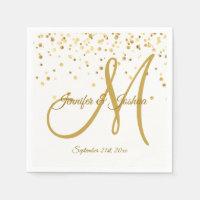 Personalized White Gold Confetti MONOGRAM Wedding Paper Napkin