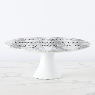 Personalized White & Gray Porcelain Cake Stand