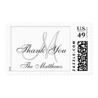 Personalized White Gray Wedding Thank You Stamp