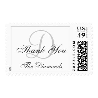 Personalized White Gray Wedding Thank You Postage
