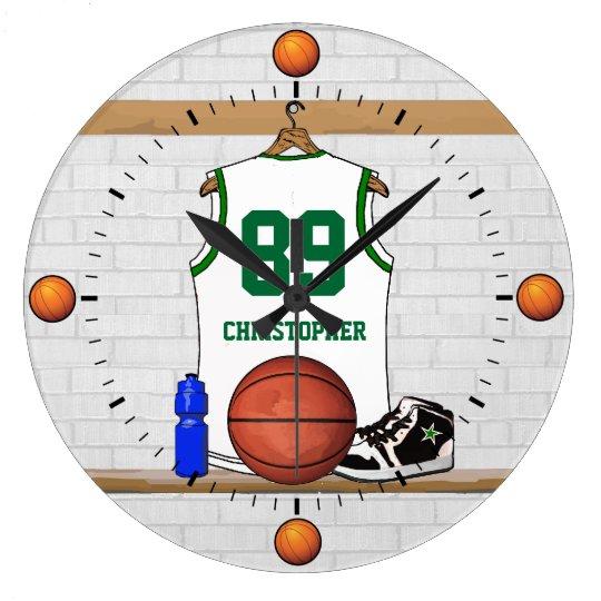 Personalized white green  Basketball Jersey Large Clock
