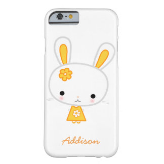 Personalized White iPhone 6 Case With Yellow Bunny