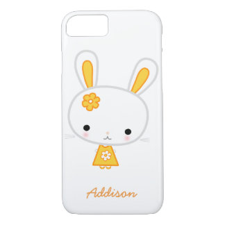 Personalized White iPhone 7 Case With Yellow Bunny