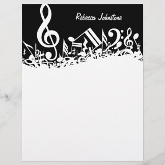 Personalized White Jumbled Musical Notes on Black