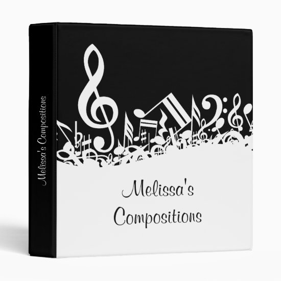 Personalized White Jumbled Musical Notes on Black 3 Ring Binder