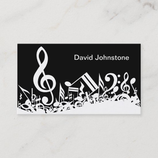 Personalized White Jumbled Musical Notes on Black Business Card