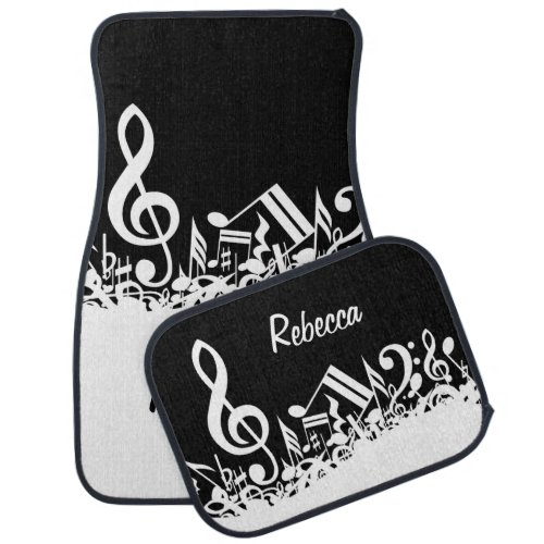 Personalized White Jumbled Musical Notes on Black Car Floor Mat