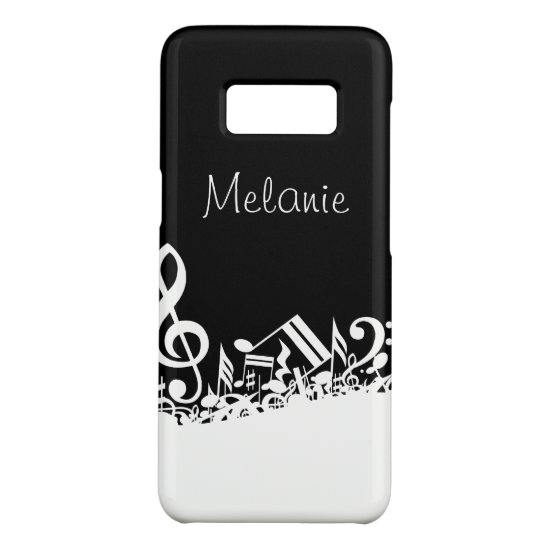 Personalized White Jumbled Musical Notes on Black Case-Mate Samsung Galaxy S8 Case