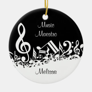 Personalized White Jumbled Musical Notes on Black Ceramic Ornament