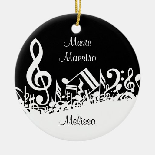 Personalized White Jumbled Musical Notes on Black Double-sided Ceramic Round Christmas Ornament