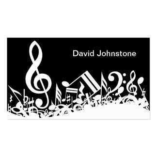 Personalized White Jumbled Musical Notes on Black Double-Sided Standard Business Cards (Pack Of 100)