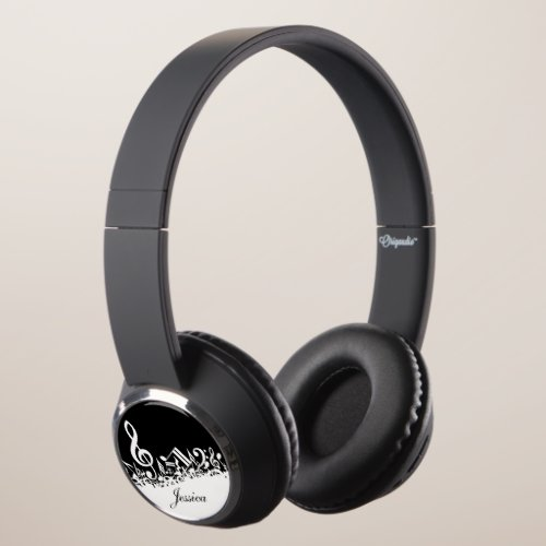Personalized White Jumbled Musical Notes on Black Headphones