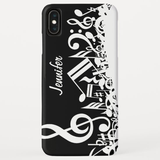 Personalized White Jumbled Musical Notes on Black iPhone XS Max Case