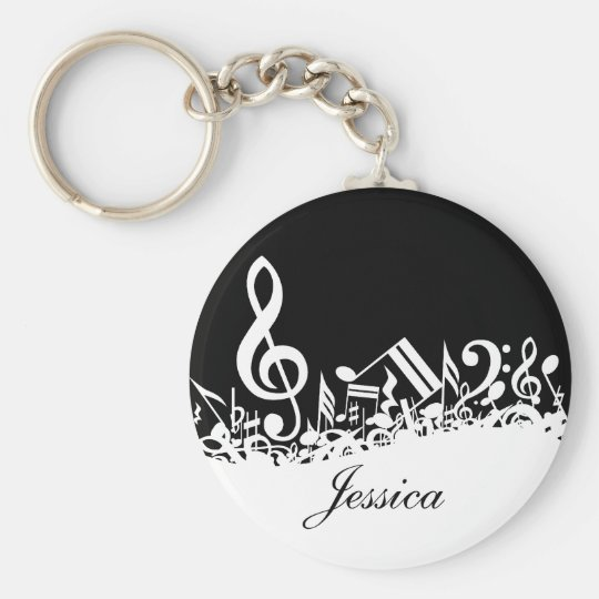 Personalized White Jumbled Musical Notes on Black Keychain