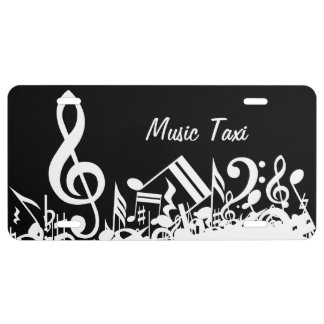 Personalized White Jumbled Musical Notes on Black License Plate