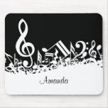 Personalized White Jumbled Musical Notes on Black Mouse Pad