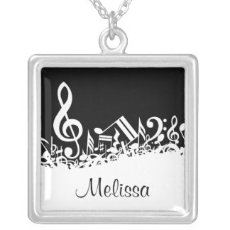 Personalized White Jumbled Musical Notes on Black Square Pendant Necklace