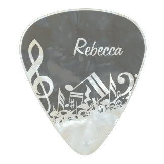 Personalized White Jumbled Musical Notes on Black Pearl Celluloid Guitar Pick
