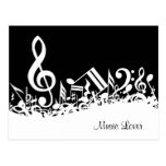 Personalized White Jumbled Musical Notes on Black Postcard