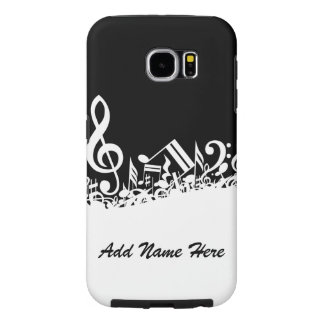 Personalized White Jumbled Musical Notes on Black Samsung Galaxy S6 Case