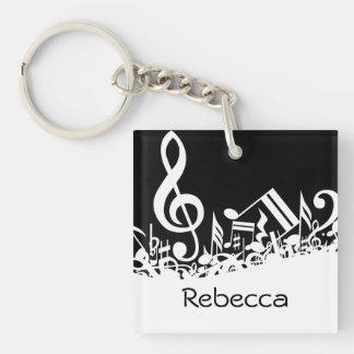 Personalized White Jumbled Musical Notes on Black Single-Sided Square Acrylic Keychain