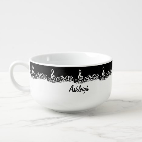 Personalized White Jumbled Musical Notes on Black Soup Mug