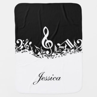 Personalized White Jumbled Musical Notes on Black Stroller Blankets
