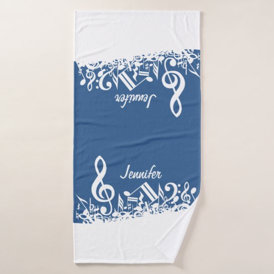 Personalized White Jumbled Musical Notes on Blue Bath Towel Set