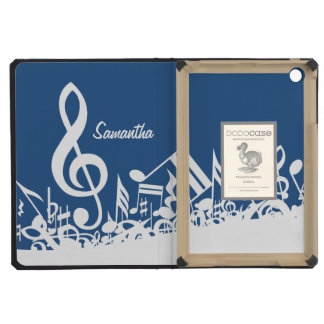 Personalized White Jumbled Musical Notes on Blue iPad Mini Case