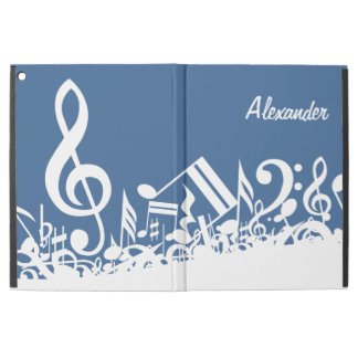 "Personalized White Jumbled Musical Notes on Blue iPad Pro 12.9"" Case"