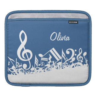 Personalized White Jumbled Musical Notes on Blue iPad Sleeves