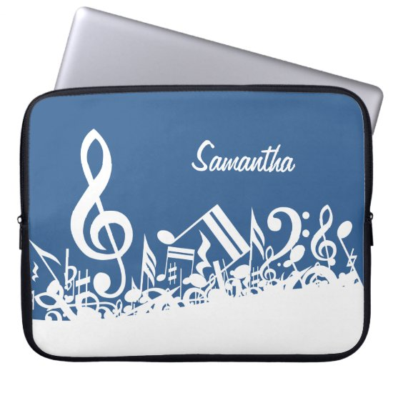 Personalized White Jumbled Musical Notes on Blue Laptop Sleeve