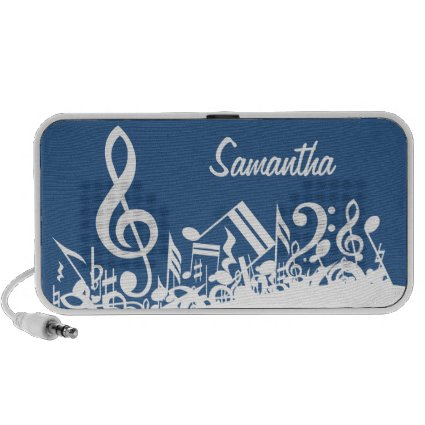 Personalized White Jumbled Musical Notes on Blue Travelling Speakers