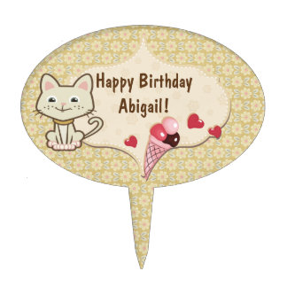 Personalized White Kitty Cat Birthday Cake Topper