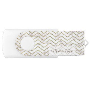 Aztec Themed Personalized White Marble with Gold Chevron Flash Drive