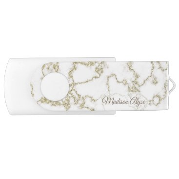 Aztec Themed Personalized White Marble with Gold Flash Drive