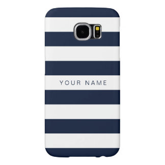 Personalized White & Navy Blue Striped Samsung Galaxy S6 Case