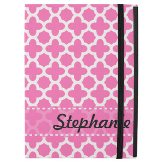 Personalized White on Hot Pink Quatrefoil Pattern iPad Pro Case